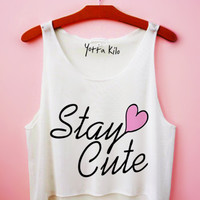 Stay Cute Heart Crop Tank Top