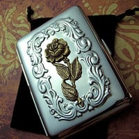 Feminine Cigarette Case Gothic Victorian Rose Case Small Size Vintage Inspired Metal Steampunk Case Gifts For Her