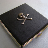 Steampunk Gothic Skull and Crossbones Cigarette Case - Black Leatherette - Groomsmen Gifts - Birthday Gift