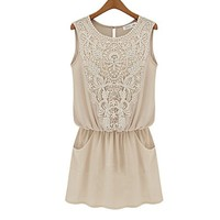 ZLCY Fashion Ladies Sleeveless Floral Crochet Lace Chiffon Dress for Women
