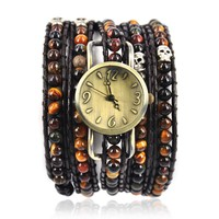 YCW Women's Handmade Tiger Eyes Wrap Watch Color Brown