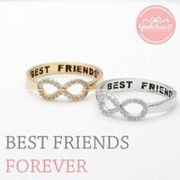 simple INFINITY - best friends ring with crystals, 2 colors from girlsluv.it