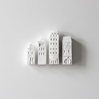 cityscape architectural wall installation - unglazed porcelain wall decor