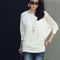 Durable Bat-wing Sleeve Lace T-shirts White_F/W Blouses_Wholesale - Wholesale Clothing, Wholesale Shoes, Bags, Jewelry, Wholesale Fashion Apparel & Accessories Online