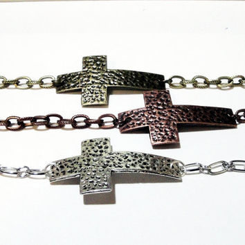Silver, Copper Brass Cross Hammered Sideways Bracelet, Cross Charm Chainmaille Bracelet, Choose Your Color For Her, Him. Unisex