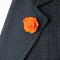 Orange Cashmere Lapel Flower by Isaiah Hemmingway - $55