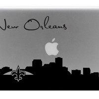 New Orleans Skyline Macbook Decal With Writing / by BengalWorks