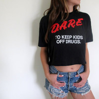 DARE Crop Top Cropped Tee Midriff Womens Punk Grunge Style Police Shirt Drugs Tshirt Violence