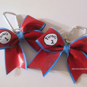 Thing 1 Thing 2 Key Chain Set Cheer Bow Cheerleading