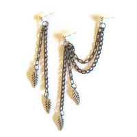 Earrings Cartilage Leaf Charms Double Chain