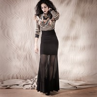 Maxi Skirt - Black Bamboo Jersey and Black Mesh - S, M, L