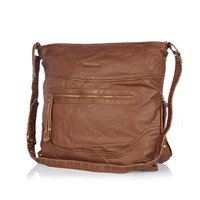 Brown zip oversized messenger bag - cross body bags - bags / purses - women
