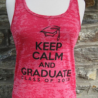 BIG SALE Graduation Tank -- Pink -- Keep Calm and Graduate