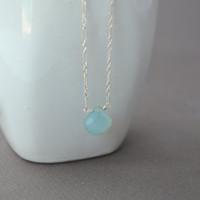 Aqua Chalcedony Necklace Pale Aqua Sterling by BelleReveDesigns