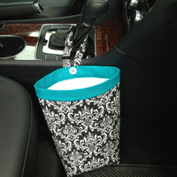 CAR CADDY DAMASK Black and White, Women, Car Litter Bag, Auto Accessories, Auto Bag, Car Organizer, Car Caddy