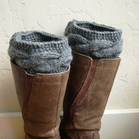Gray Boot cuffs - Gray Legwarmers - Gray boot toppers  - Winter Fashion 2013 - Knit boot tops - Machine Washable - Gray boot tops