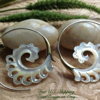 "Tribal Hanging Earrings, ""Golden Surf"" Naturally Organic, Mother of Pearl, Brass/Sterling Posts, Hand Carved"