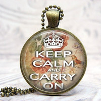 Keep Calm Necklace/ Pink Green/Glass Picture Pendant by Lizabettas