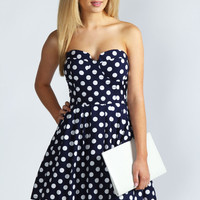 Vicky Polka Dot Bandeau Prom Dress