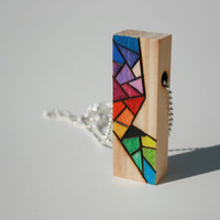 Wood pendant with colorful design Unique abstract by MudHorseArt