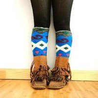 Womens Sweater Legwarmers Geometrical Funky Blue by nicolecarey