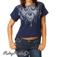 Ruby Rocks Tie Back Top - Hippi Motif Navy
