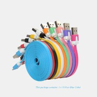 Antopos iPhone 5 Ten 10 Feet or Six 6 Feet Extra Long Charger Charging Cable, UBS 8 Pin Lightning Cable Extended Charger Noodle Flat Cable Available in Color Yellow, White, Black, Green, Pink, Blue, Purple, Orange, Rose for iPhone 5 iTouch 5 iPad 4 iPad Mi