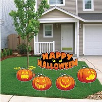 """Happy Halloween"" Scary Pumpkins Halloween Yard Decoration (Incl. 4 Lg. and 8 Sml. Short Stakes)"
