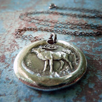 Deer Wax Seal Necklace. Fine Silver Pendant. Woodland Wax Seal Jewelry.