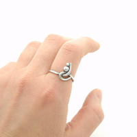 Oxidized Sterling Silver Ring , Faceted silver Nugget Bead