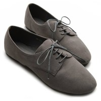 Ollio Womens Ballet Flat Loafers Faux Suede Oxford Lace Ups Multi Colored Shoes:Amazon:Shoes