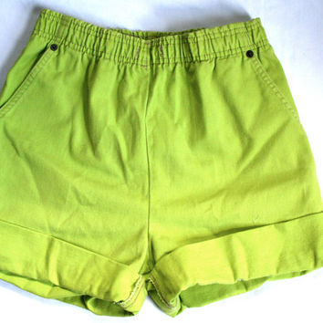 High Waisted Lime Green Shorts