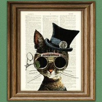 Clockwork Kitty Steampunk Cat illustration by collageOrama on Etsy