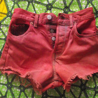 PREORDER High Waisted Orange and Red Dyed Vintage by Shortcuts