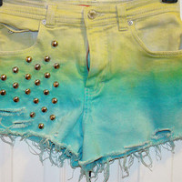Blue and green dipdyed high waisted shorts by YOUTHAFLAME on Etsy