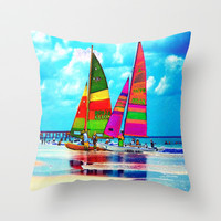 Neon Sailboats -Daytona Beach Throw Pillow by Rokin Art by RokinRonda