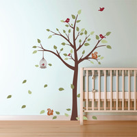 Nursery Wall Decal Tree with Hanging Birdcage and 2 Squirrels Vinyl Wall Art Graphics
