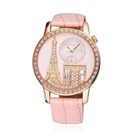 Luxury Rhinestone-studded Paris Eiffel Tower Leather Ladies Watch