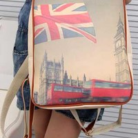 Retro Leisure British flag Print Backpack from shopgirl8