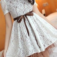 Slim Elegant Lace Spliced Bowknot Dress from perfectmall