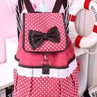 Fashion Cute Dot Bowknot Lace Canvas Backpack from styleonline