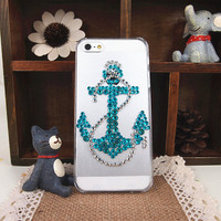 Anchor and Rope Rhinestone Handmade Case for iPhone 5