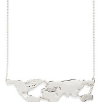 ModCloth Travel, Statement, Quirky, Scholastic There's a Map for That Necklace in Silver