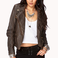 Distressed Faux Leather Moto Jacket | LOVE21 - 2040495937