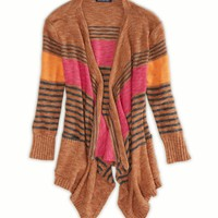 AEO Women's Striped Open Cardi (Brown)