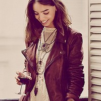 Free People Womens Classic Biker Jacket -