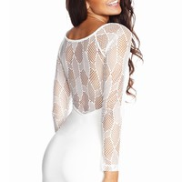 A Mesh-y Situation Long Sleeve White Dress