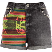 Black embroidered panel denim shorts