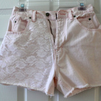 Light Pink Lace Detailed HighWaisted CutOff Shorts by p4pministry
