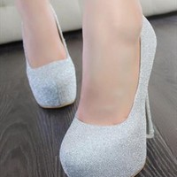 Glittered Heeled PU Shoes for Women Silver ERY835 from topsales